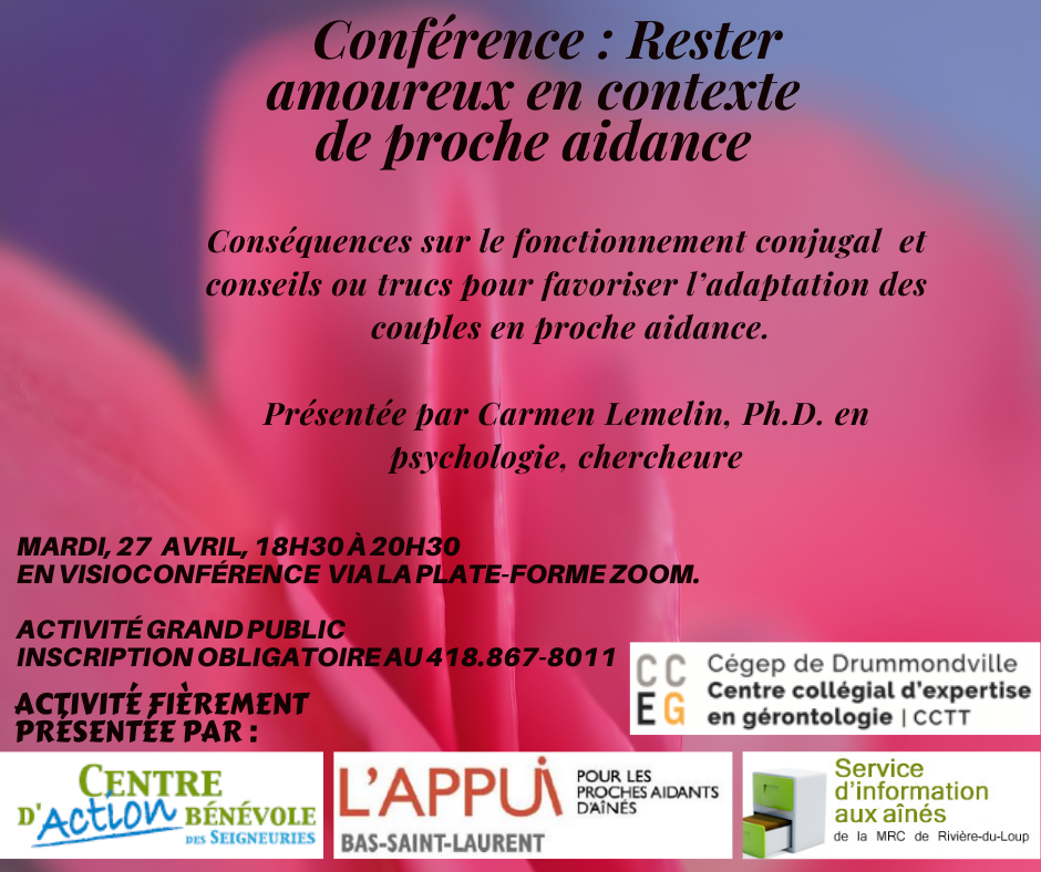 Conférence : Rester amoureux en contexte de proche aidance